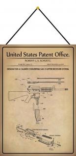 Blechschild Patent Entwurf für eine Schnellfeuergewehr Deko 20 x 30 m.Kordel