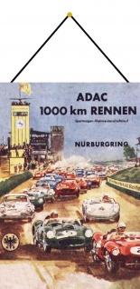 Blechschild Retro ADAC 1000km Nürburgring Metallschild Wanddeko 20x30 mit Kordel