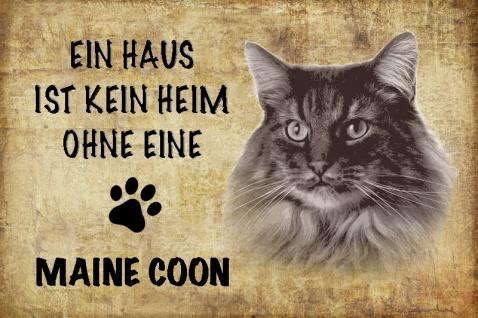 Ein haus ist kein heim ohne eine Maine Coon katze blechschild