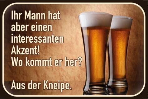 Blechschild Spruch Alkohol Mann Akzent Metallschild Wanddeko 20x30cm tin sign