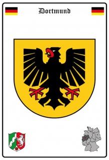Blechschild Stadt Dortmund Wappen Straßen Metallschild Wanddeko 20x30 cm tin sign