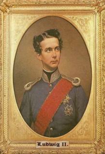 Retro: Ludwig II König von Bayern Portrait mit Rahmen Blechschild 20x30 cm