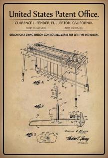 US Patent Office - Design for a string tension controlling means for lute-type instrument - Entwurf für einen Saitenspannungssteuermittel für ein Instrument vom Lautentyp - Fender - 1961 - Design No 2.973682 - Blechschild