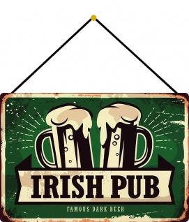 Blechschild Irish Pub famous dark beer Metallschild 20x30 cm Deko mit Kordel