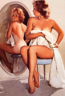 Nostalgie Pin up sexy Frau mit Spiegel Blechschild 20x30cm