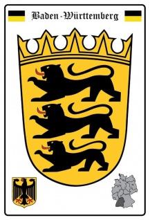 Blechschild Baden Württemburg Wappen Metallschild Wanddeko 20x30 cm tin sign