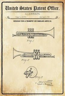 US Patent Office - Design for a Trumpet - Entwurf für einen Trompete - Johnson - 1940 - Design No 119755 - Blechschild - Vorschau