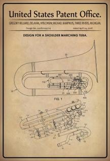 Blechschild Patent Entwurf für eine Tuba Hilliarad Metallschild Wanddeko 20x30 cm tin sign