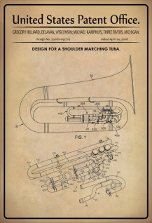 US Patent Office - Design for a Shoulder Marching Tuba - Entwurf für einen Tuba - Hilliarad, Kamphuis - 2008 - Design No 2008/0092719 - Blechschild