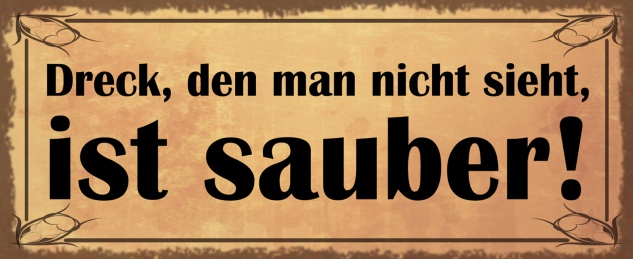 Blechschild Spruch Dreck, den man sieht,... Metallschild Wanddeko 27x10cm tin sign