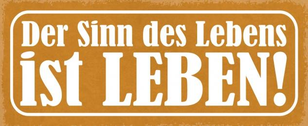 Blechschild Spruch Der Sinn des Lebens ist leben! Metallschild 27x10 Deko tin sign