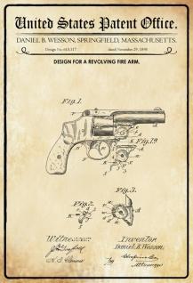 US Patent Office - Design for A Revolving Firearm- Entwurf für einen Revolver - Wesson, Massechusetts, 1898 - Design No 615.117 - Blechschild