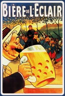 Blechschild Alkohol Biere de leclair Metallschild Wanddeko 20x30 cm tin sign