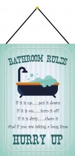 Blechschild Bathroom rules Badezimmer-/ Kloordnung Deko 20x30 mit Kordel