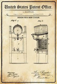 Blechschild Patent Entwurf für Bierkühler Metallschild Wanddeko 20x30 cm tin sign