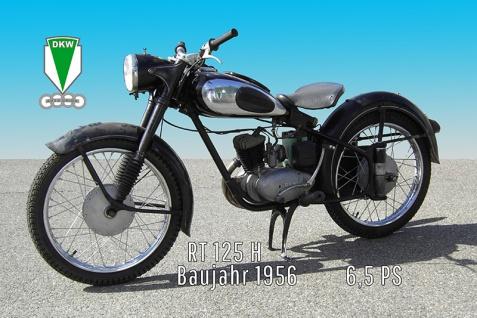 DKW RT 125H 1956 6.5PS motorrad, motor bike, motorcycle blechschild