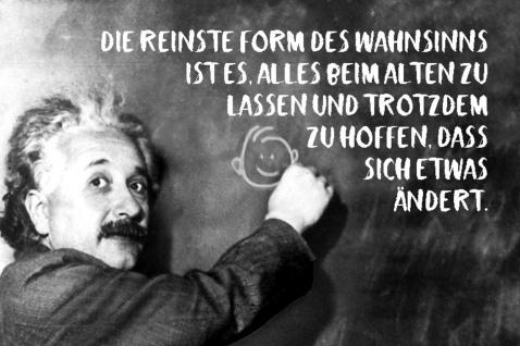 Blechschild Spruch Die reinste Form Wahnsinns Einstein Metallschild Wanddeko 20x30 cm tin sign