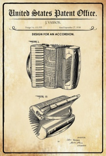 US Patent Office - Design for an Accordion - Entwurf für einen Ziehharmonika - Vassos - 1938 - Design No 111555 - Blechschild
