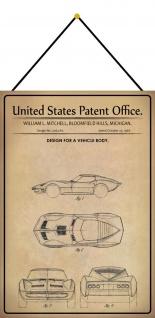 Blechschild Patent Entwurf für Sportwagen Karosserie Deko 20 x 30 m.Kordel