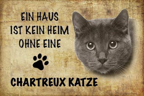 Ein haus ist kein heim ohne eine Chartreux katze blechschild