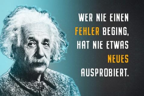Blechschild Spruch Einstein Wer nie einen Fehler Metallschild Wanddeko 20x30 cm tin sign