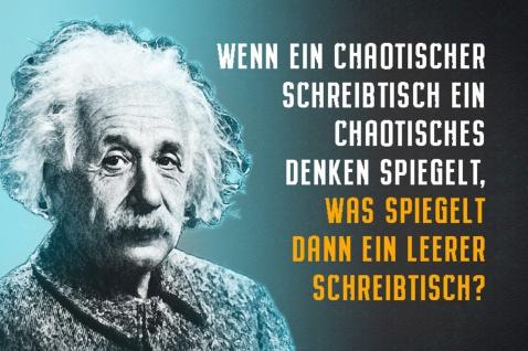 Blechschild Spruch Einstein Ein chaotischer Schreibtisch Metallschild Wanddeko 20x30 cm tin sign