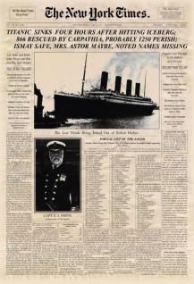 New York Times Zeitung Artikel Titanic Sinks Versunken blechschild