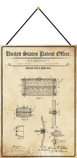Blechschild Patent Entwurf für einen BierkühlerMetallschild 20 x 30 m.Kordel