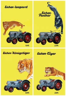 Eicher traktoren übersicht Leopard Panther Königstiger Tiger trekker schlepper blechschild