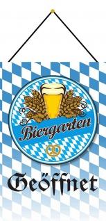 Blechschild Bier Biergarten Geöffnet Bayern Metallschild Deko 20x30 m.Kordel