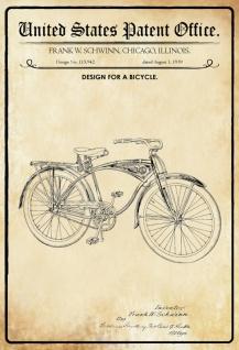 US Patent Office - Design for A Bicycle - Entwurf für Fahrrad - Schwinn, Illinois 1939 - Design No 115.942 - Blechschild