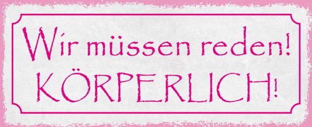 Blechschild Spruch Wir müssen reden! KÖRPERLICH! Metallschild 27x10 Deko tin sign