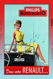 Philips Autoradio pinup / pin up sexy frau renault blechschild