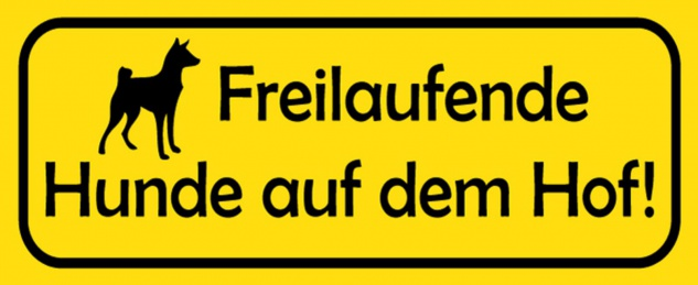 Blechschild Spruch Hund Freilaufende Hunde Hof Metallschild 27x10 cm Wanddeko tin sign