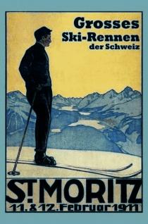 Schatzmix Blechschild St Moritz grosses Skirennen Schweiz 1911 Metallschild 20x30 cm Wanddeko tin sign