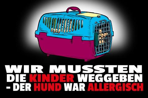 Blechschild Spruch Hund war allergisch Metallschild Wanddeko 20x30 cm tin sign