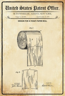 US Patent Office - Design for A Toilet Paper Roll - Entwurf für ein Toilettenpapierrolle - Wheeler, New York 1891 - Design No 465.588 - Blechschild