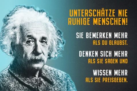 Blechschild Spruch Unterschätze ruhige Menschen A.Einstein Metallschild Wanddeko 20x30 cm tin sign
