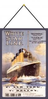 Blechschild Schiff White Star Line Titanic Metallschild Deko 20x30 mit Kordel