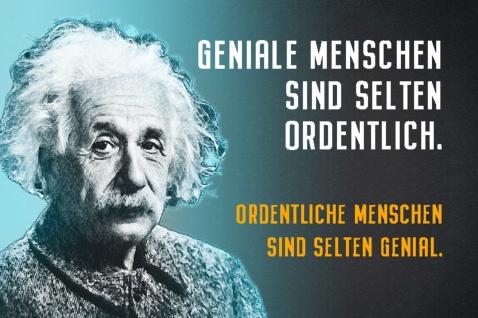 Blechschild Spruch Einstein Geniale Menschen sind Metallschild Wanddeko 20x30 cm tin sign