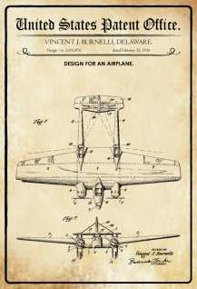 US Patent Office - Design for an Airplane- Entwurf für ein Flugzeug - Burnell Delaware 1936 - Design No 2.031.876 - Blechschild