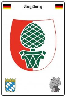 Blechschild Stadt Augsburg Wappen Straßen Metallschild Wanddeko 20x30 cm tin sign