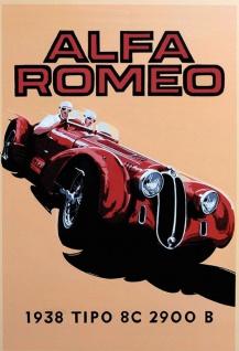 Alfa Romeo 1938 2900B rennauto sportwagen blechschild