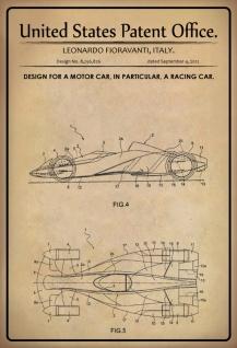 Blechschild Patent Entwurf Auto- Rennwagen-Fioravanti Metallschild Wanddeko 20x30 cm tin sign