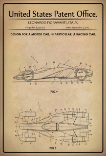US Patent Office - Design for A Motor Car, In Particular, A Racing Car - Entwurf für ein Automobil, insbesondere ein Rennwagen - Fioravanti, Italy 2012 - Design No 8.256.826 - Blechschild