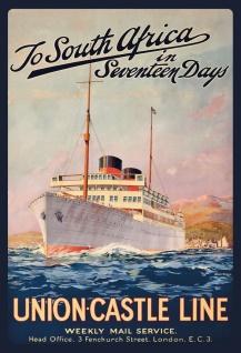 Blechschild Nostalgie Steamship to South Africa Metallschild Wanddeko 20x30 cm tin sign
