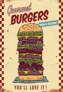 Blechschild Spruch Gourmet Burgers Metallschild Wanddeko 20x30 cm tin sign - Vorschau 1