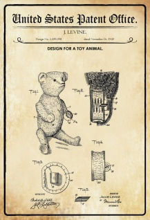 US Patent Office - Design for A Toy Animal - Entwurf für ein Spielzeugtier - Levine 1920 - Design No 1.359.398 - Blechschild
