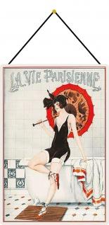 Blechschild La vie Parisienne (Frau auf Badewanne) Metallschild 20x30 mit Kordel