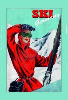 Ski Germany frau blechschild